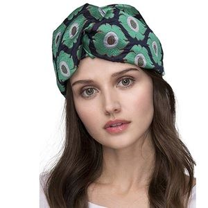 New wide Green Jacquard Headwrap Turban